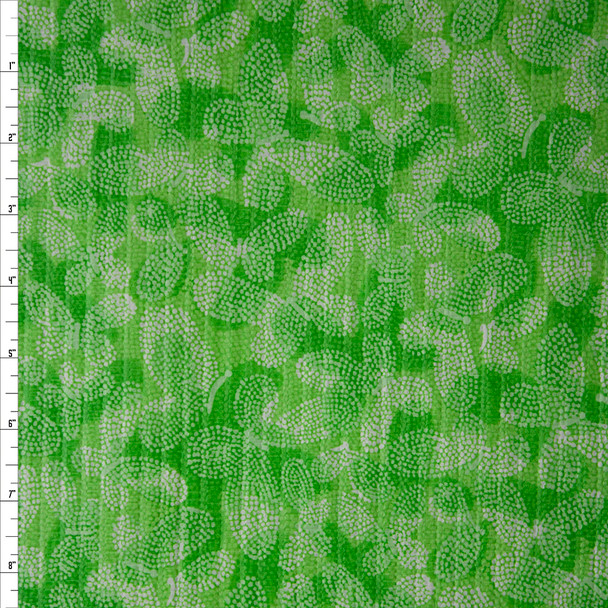Lime Green Clouds and Butterflies 'Tutti Frutti' Plissé Fabric By The Yard