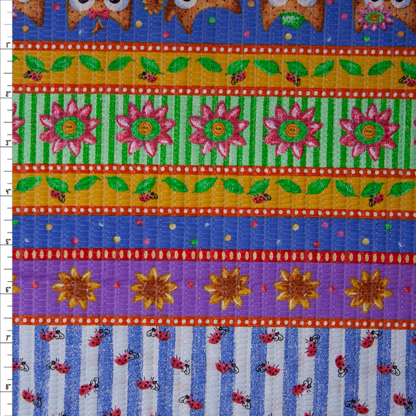 Owls and Sunflower Patterned Stripes 'Tutti Frutti' Plissé Fabric By The Yard