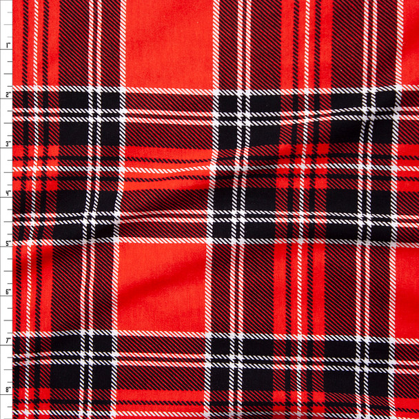 Bright Red and Black Plaid Stretch Cotton Jersey Knit Fabric By The Yard