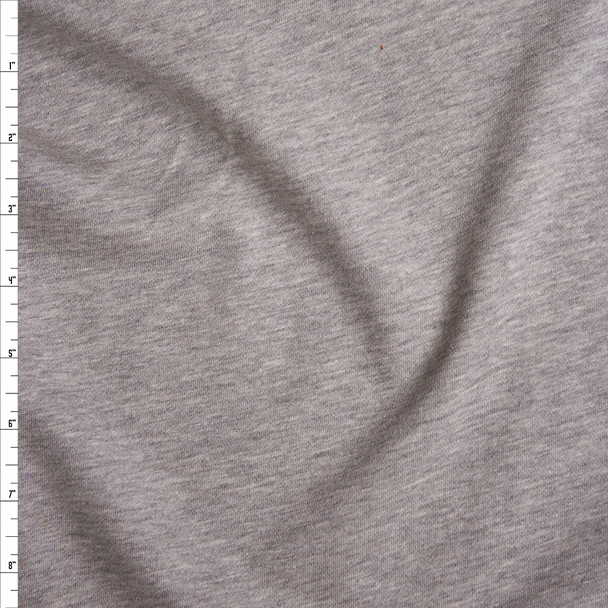 Heather Grey Midweight Cotton French Terry Fabric By The Yard