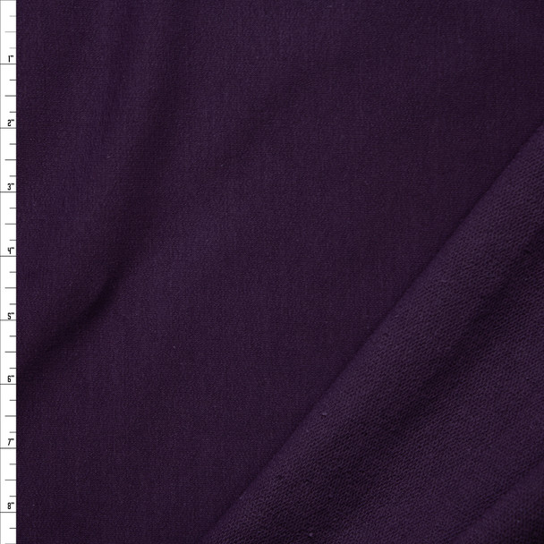 Plum Midweight 4-way Stretch Cotton French Terry Fabric By The Yard