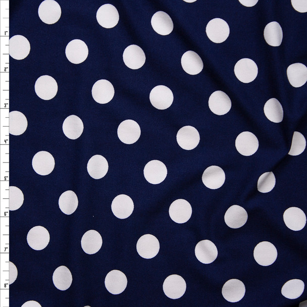 White on Navy Polka Dots Double Brushed Poly/Spandex Knit Fabric By The Yard