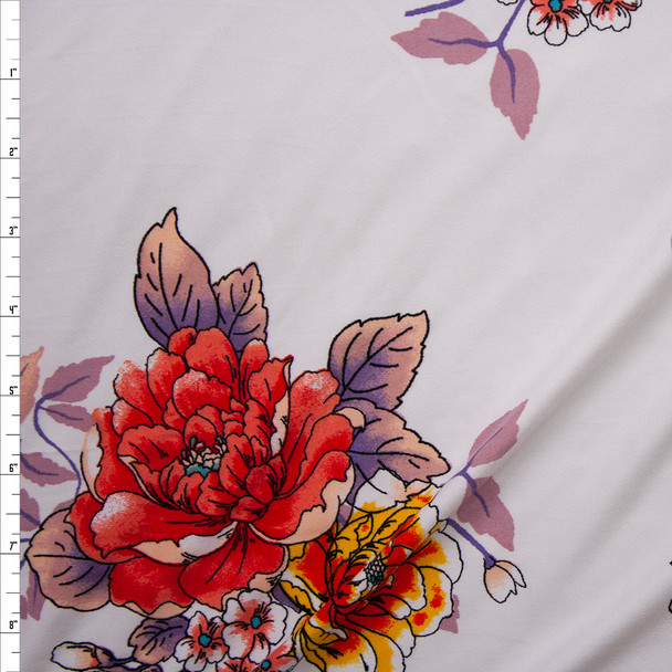 Red Orange, Orange, and Mauve Comic Book Floral on White Double Brushed Poly/Spandex Knit Fabric By The Yard