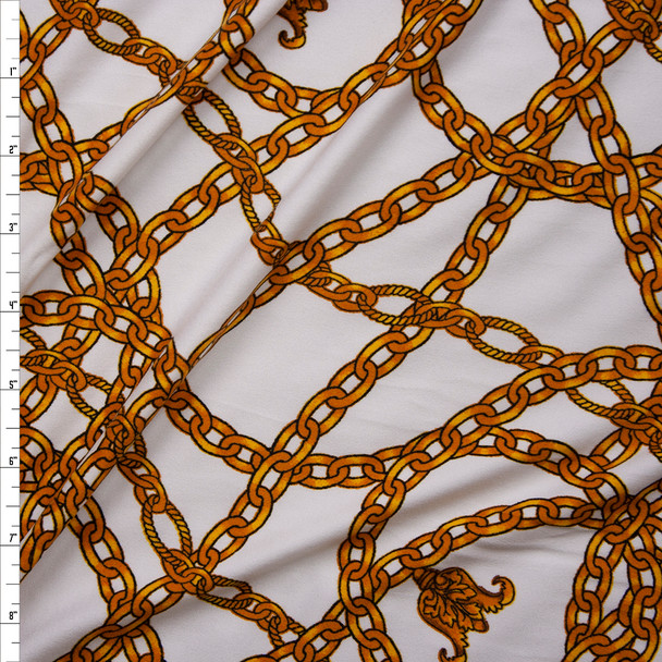 Gold Chains on Offwhite Double Brushed Poly/Spandex Knit Fabric By The Yard