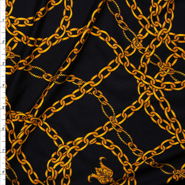 Gold Chains on Black Double Brushed Poly/Spandex Knit Fabric By The Yard