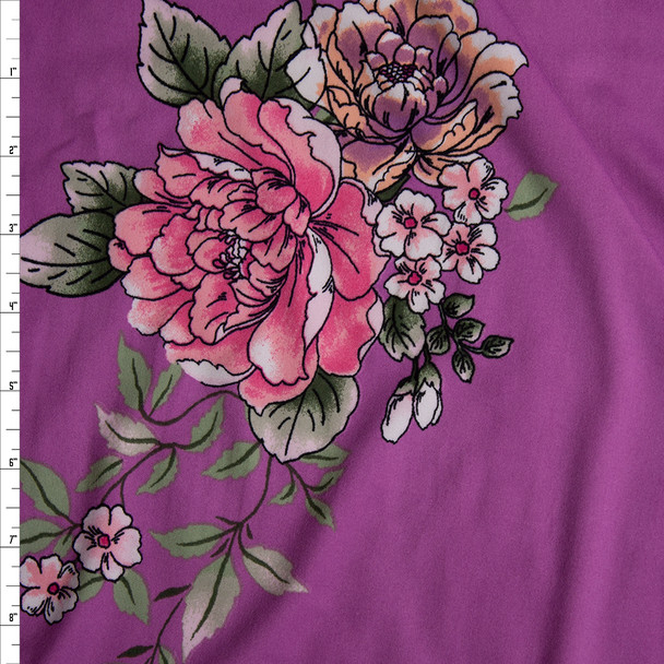 Pink, Dusty Lilac, and Sage Comic Book Floral on Bright Lilac Double Brushed Poly/Spandex Knit Fabric By The Yard