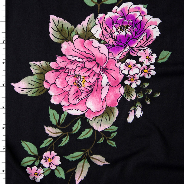 Pink, Lilac, and Sage Comic Book Floral on Black Double Brushed Poly/Spandex Knit Fabric By The Yard
