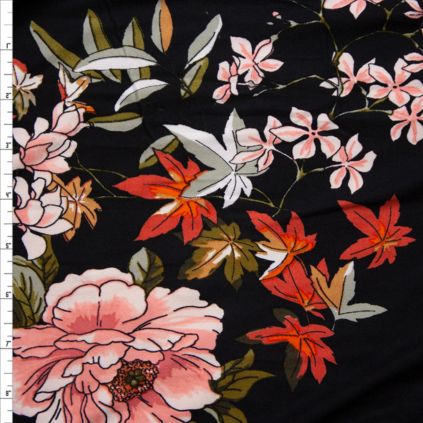 Peach, Rust, Olive, and Sage Comic Book Leaves and Flowers on Black Double Brushed Poly/Spandex Knit Fabric By The Yard