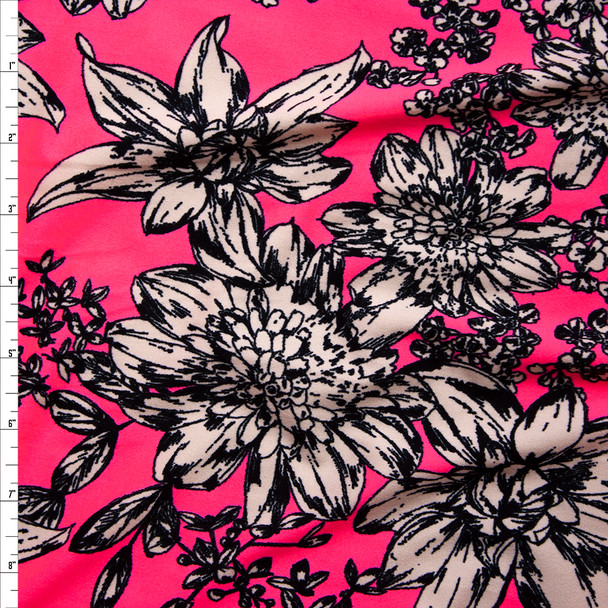 Black and White Sketchbook Floral on Neon Pink Double Brushed Poly/Spandex Knit Fabric By The Yard
