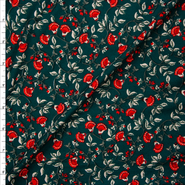 Red and White Ornate Floral on Emerald Green Double Brushed Poly/Spandex Knit Fabric By The Yard