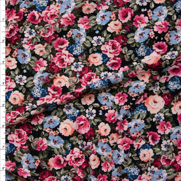 Peach, Pink, Light Blue, and Sage Garden Floral Double Brushed Poly/Spandex Knit Fabric By The Yard