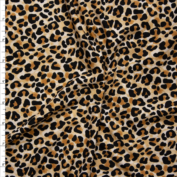 Black, Brown, and Tan Modern Cheetah Print Double Brushed Poly/Spandex Knit Fabric By The Yard