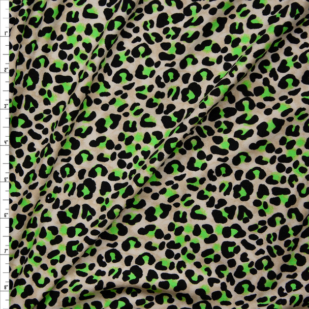 Black, Neon Green, and Offwhite Modern Cheetah Print Double Brushed Poly/Spandex Knit Fabric By The Yard