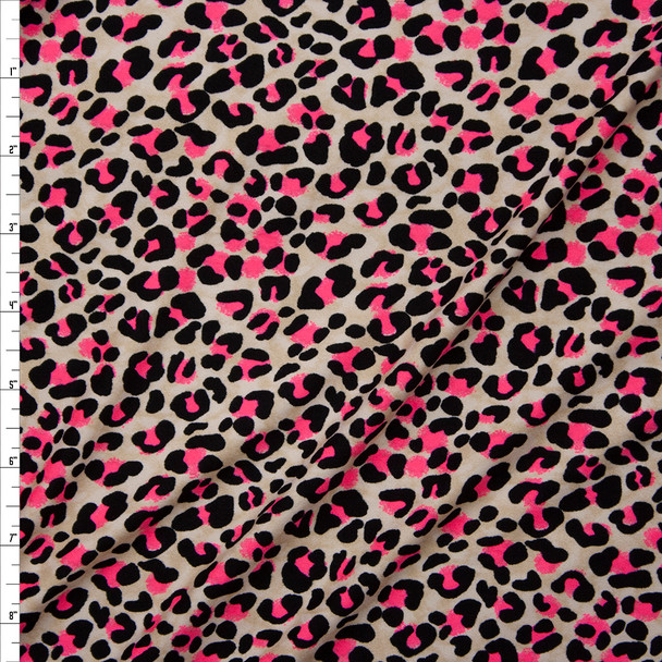 Black, Neon Pink, and Offwhite Modern Cheetah Print Double Brushed Poly/Spandex Knit Fabric By The Yard
