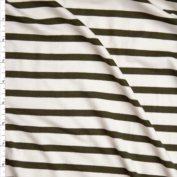 Olive on Offwhite Pencil Stripe Stretch Modal Jersey Knit Fabric By The Yard