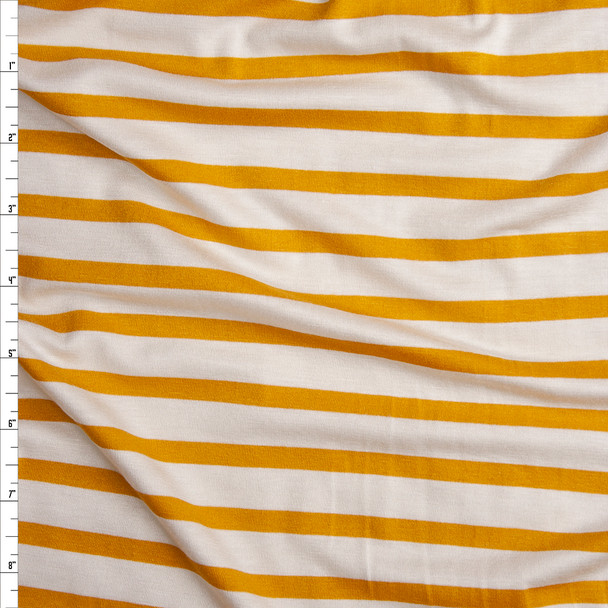 Mustard on Offwhite Pencil Stripe Stretch Modal Jersey Knit Fabric By The Yard