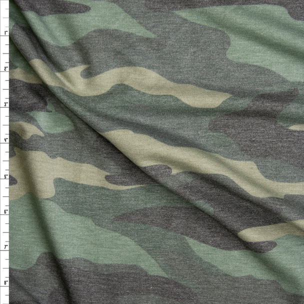 Faded Heather Camouflage Soft Lightweight French Terry Fabric By The Yard