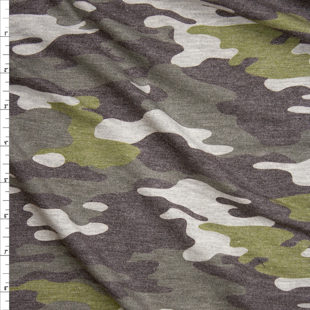 Heather Olive Camouflage Soft Lightweight French Terry Fabric By The Yard