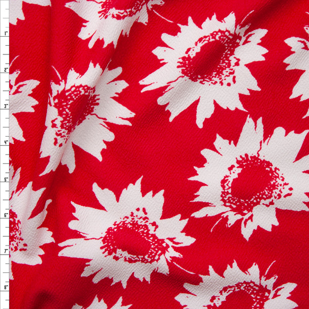 White Sunflowers on Bright Red Crepe Textured Liverpool Knit Fabric By The Yard