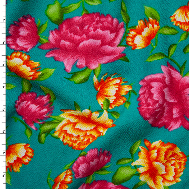 Bright Pink, Yellow, Orange, and Green Floral on Turquoise Crepe Textured Liverpool Knit Fabric By The Yard