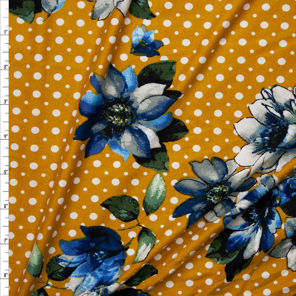Blue, Grey, and Green Flowers on White and Mustard Dotted Background Double Brushed Poly Spandex Knit Fabric By The Yard