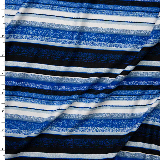 Black, Blues, and White Denim Look Barcode Stripe Double Brushed Poly Spandex Knit Fabric By The Yard