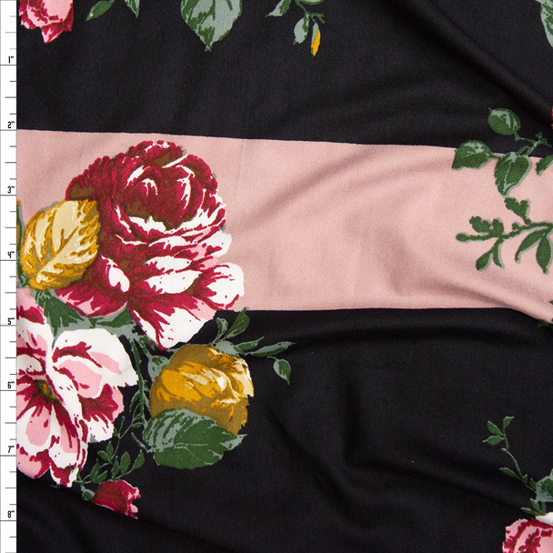 Red, Gold, and Green Rose Floral on Black and Blush Wide Stripe Background Double Brushed Poly Spandex Knit Fabric By The Yard