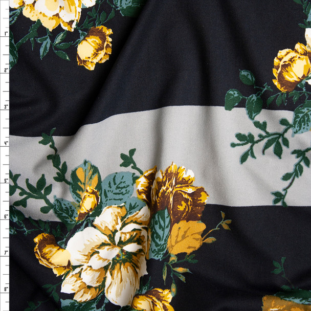 Ivory, Gold, and Green Rose Floral on Black and Grey Wide Stripe Background Double Brushed Poly Spandex Knit Fabric By The Yard