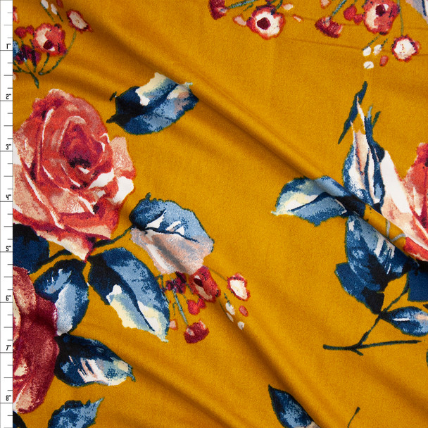 Pink and Teal Watercolor Rose Floral on Mustard Double Brushed Poly Spandex Knit Fabric By The Yard