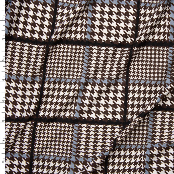 Brown, Ivory, Black, and Grey Houndstooth Plaid Double Brushed Poly Spandex Knit Fabric By The Yard