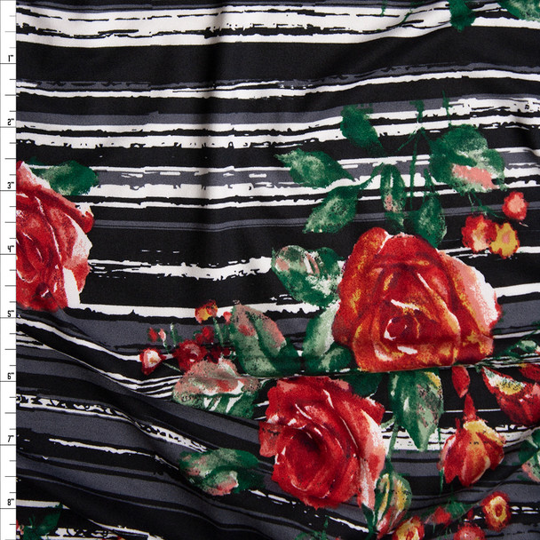 Red and Green Rose Floral on Grey, Black, and White Grunge Stripes Double Brushed Poly Spandex Knit Fabric By The Yard