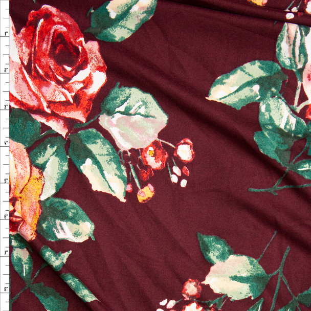 Red, Yellow, and Green Roses on Wine Double Brushed Poly Spandex Knit Fabric By The Yard