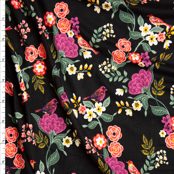 Colorful Scrolling Floral with Birds on Black Double Brushed Poly Spandex Knit Fabric By The Yard