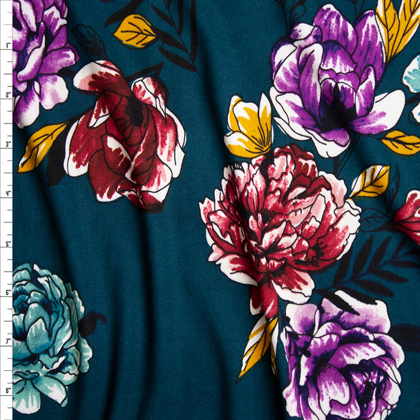 Red, Purple, Yellow, and Aqua Sketchbook Flowers on Teal Double Brushed Poly Spandex Knit Fabric By The Yard