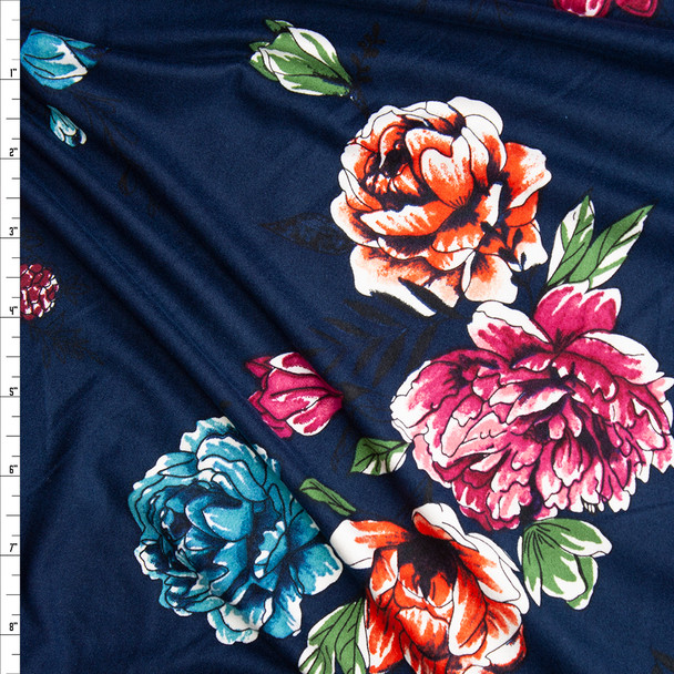 Orange, Hot Pink, Green, and Aqua Sketchbook Flowers on Navy Blue Double Brushed Poly Spandex Knit Fabric By The Yard