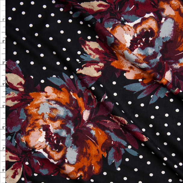 Grey, Wine, and Rust Paint Daub Floral on White on Black Polka Dot Print Double Brushed Poly Spandex Knit Fabric By The Yard
