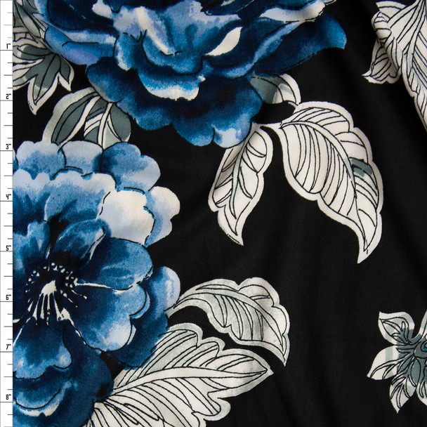 Teal, White, and Grey Outline Floral on Black Double Brushed Poly Spandex Knit Fabric By The Yard