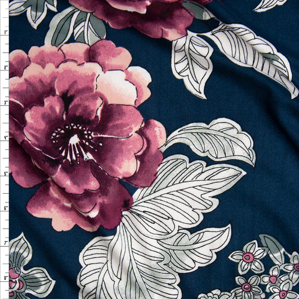 Plum, White, and Grey Outline Floral on Teal Double Brushed Poly Spandex Knit Fabric By The Yard