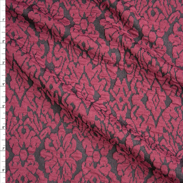 Textured Black and Wine Damask Textured Double Knit Fabric By The Yard