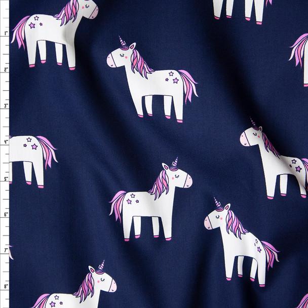 Chummy Unicorns on Navy Fine Cotton Poplin Fabric By The Yard