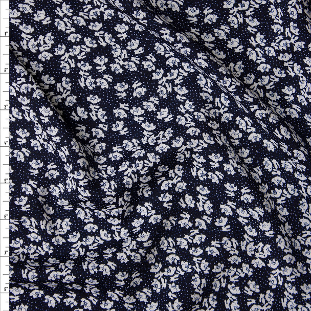 Offwhite Small Floral on Navy Georgette Print Fabric By The Yard