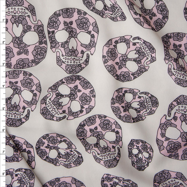 Blush Flowery Skulls on Offwhite Chiffon Print Fabric By The Yard