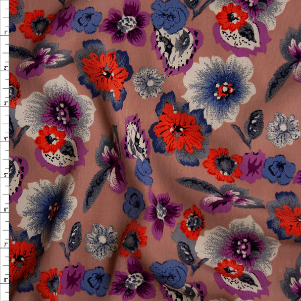 Dusty Blue, Purple, and Coral Flowers on Dusty Mauve Poly Peachskin Fabric By The Yard