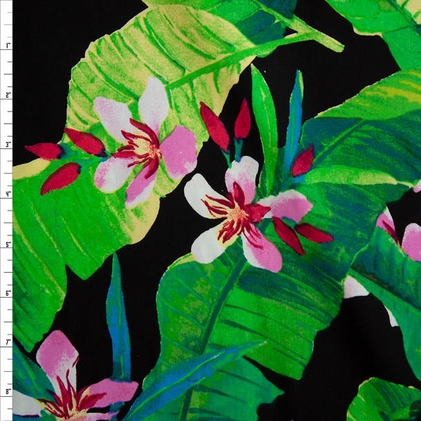 Tropical Flora on Black Stretch Cotton Poplin Fabric By The Yard