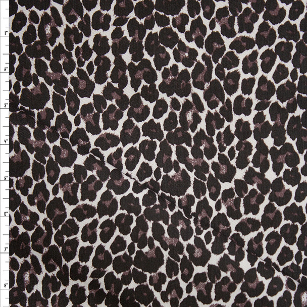 Brown Cheetah on White Stretch Cotton Twill Fabric By The Yard