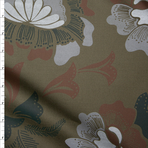 Forest and Olive Camo Floral Cotton Twill Fabric By The Yard