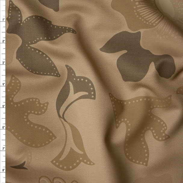Taupe and Tan Camo Floral Cotton Twill Fabric By The Yard