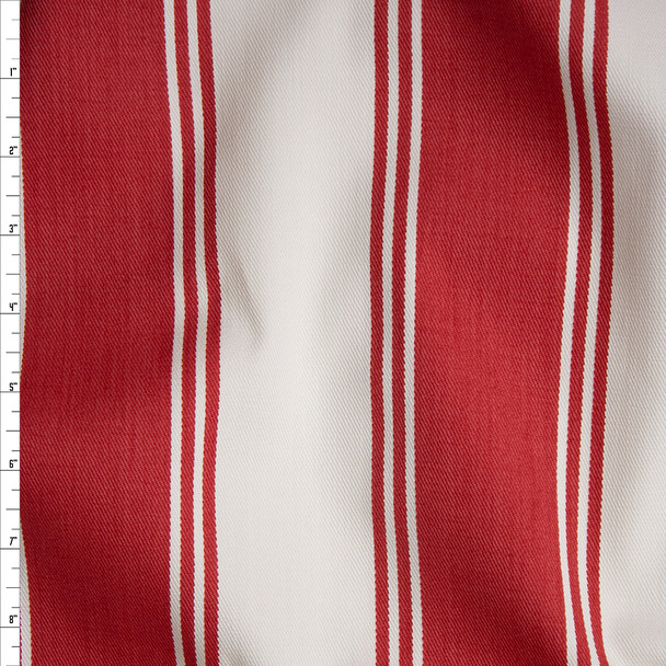 Tomato and Ivory Awning Stripe Cotton Twill Fabric By The Yard