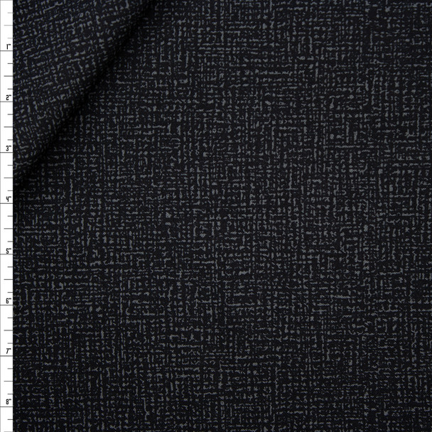 Charcoal and Black Tweed-look Print Stretch Midweight Rayon Gabardine Fabric By The Yard