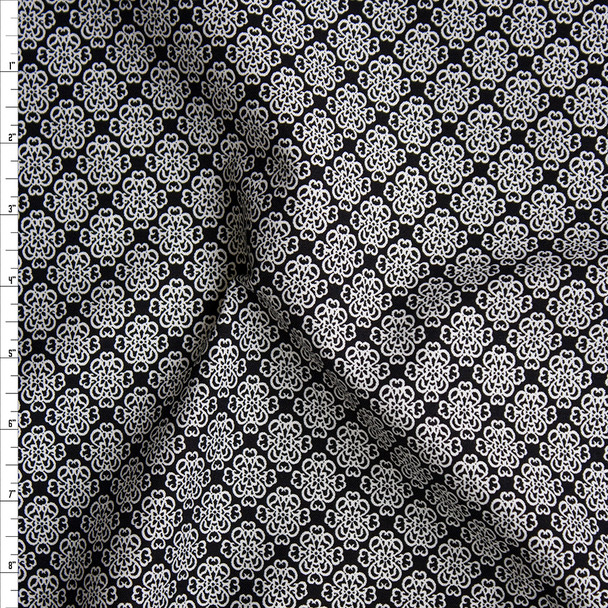 White Scrollwork Medallions on Black Stretch Midweight Rayon Gabardine Fabric By The Yard